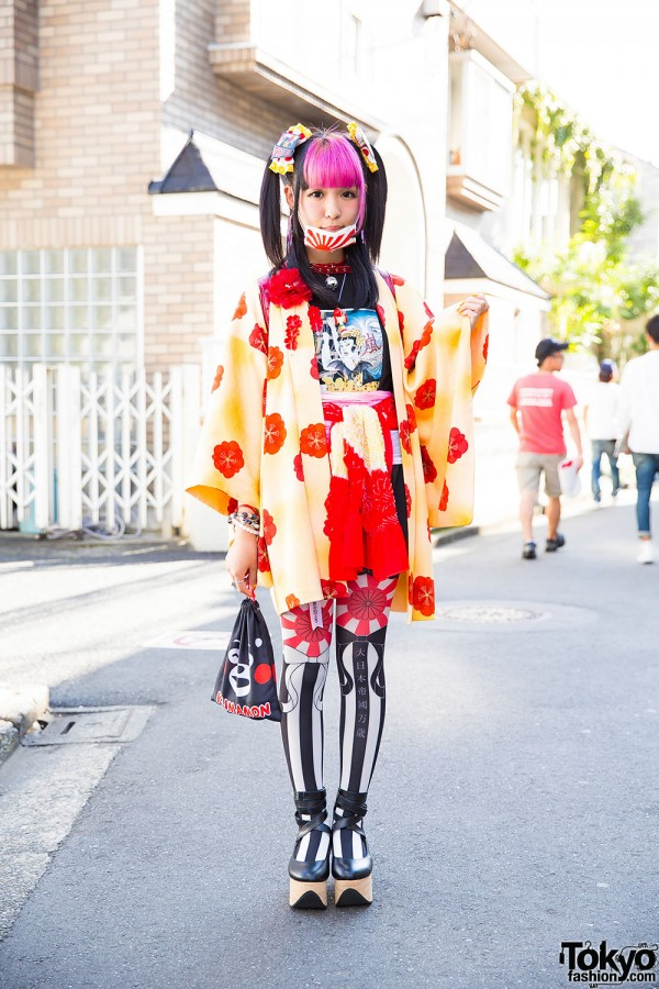 Harajuku Girl in Colorful Kimono Outfit