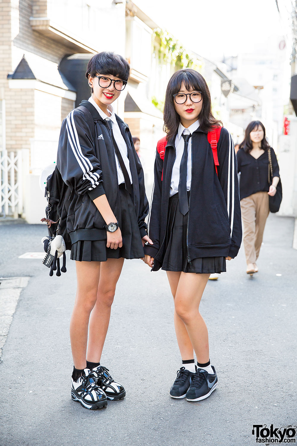 Harajuku school girls w glasses uniforms adidas jacket nike sneakers Japanese fashion style icon