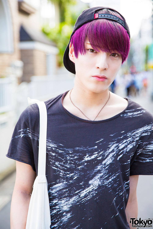 Harajuku Guy W Purple Hair In Uniqlo Skinny Jeans