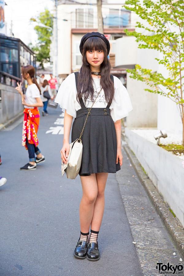 Harajuku Girl in Beret, Suspenders Skirt, Romantic Standard Top & Loafers