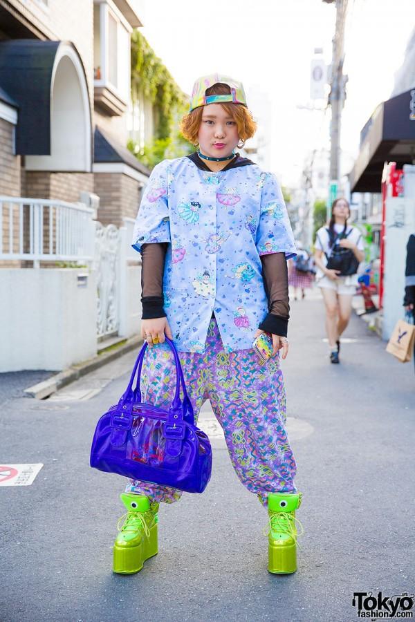 Harajuku Girl in Colorful Style w/ Neon Spike Platforms, Panama Boy & Kinji Resale