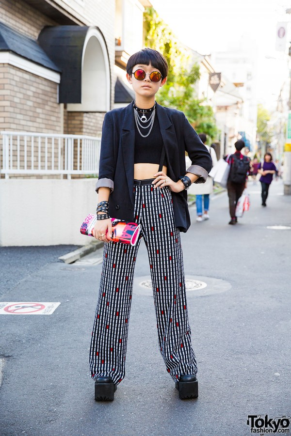 Harajuku Girl in Blazer & Crop Top,  San-biki no Koneko Pants, Kobinai, Fig&Viper & Glavil