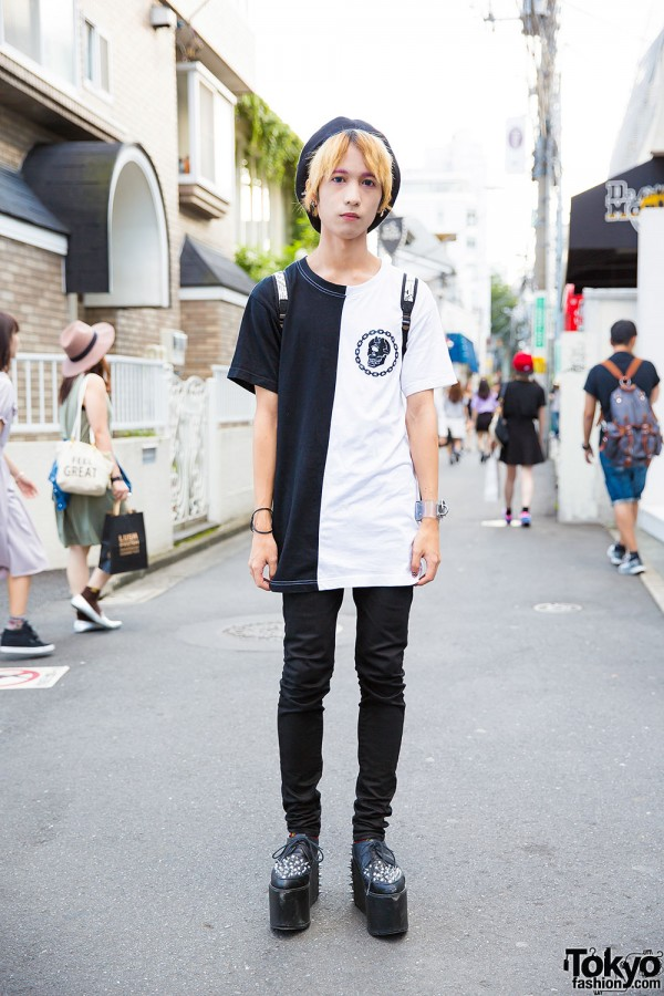 Harajuku Guy in Horned Beret w/ Long Clothing, Never Mind the XU & Jeffrey Campbell