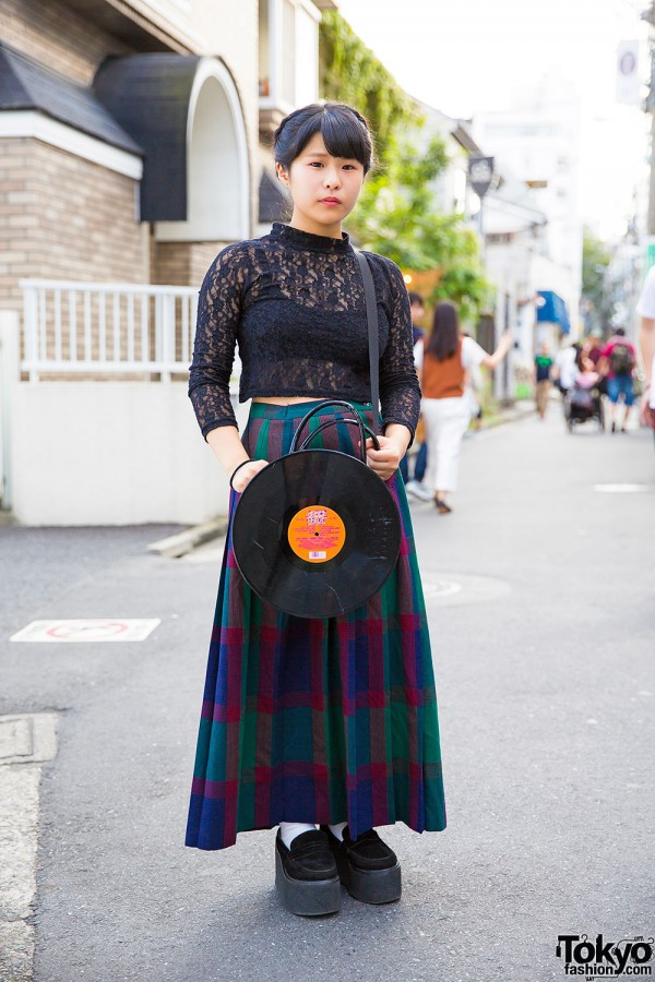 Harajuku Girl w/ Braided Updo, G2? Vinyl Record Bag, Spinns Lace Top & Nadia Loafers