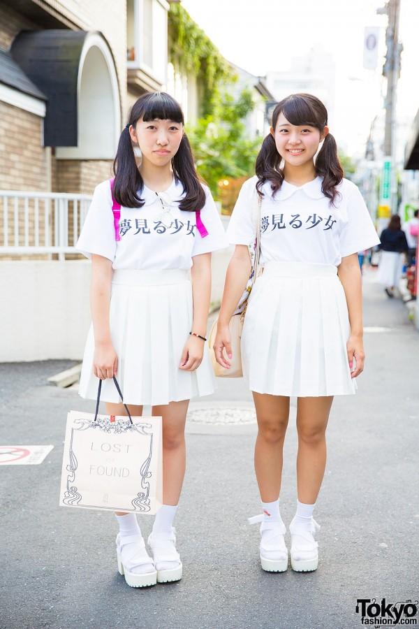 "Harajuku Girls in Pair Look w/ ""Yume Miru Shoujo"" Tops, Pleated Skirts & WEGO Platform Sandals"