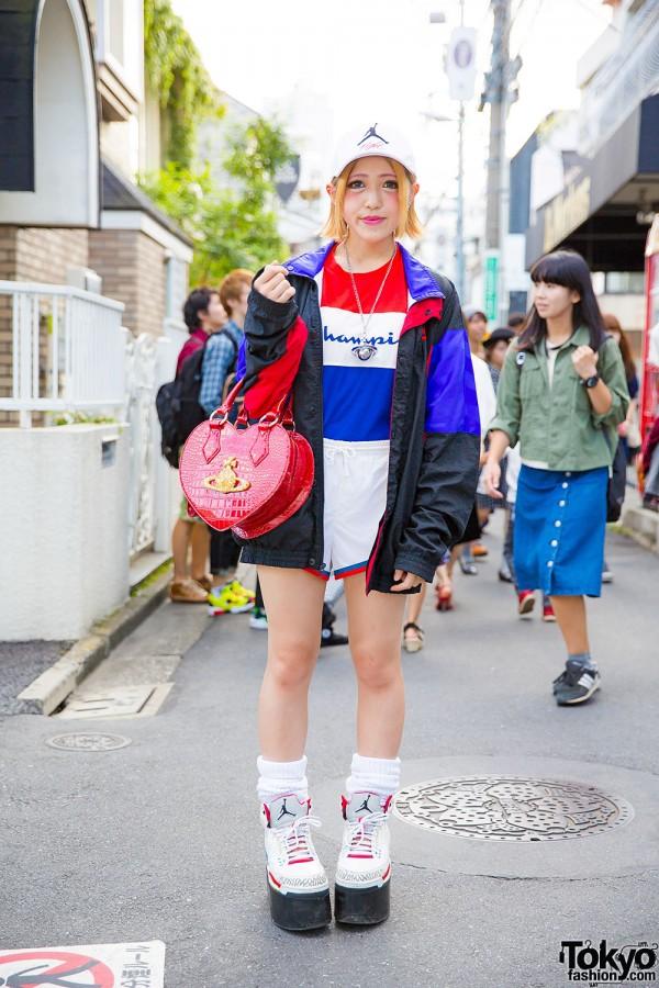 Harajuku Girl in Sporty Street Chic w/ Platform Air Jordans, Vivienne Westwood & Champion