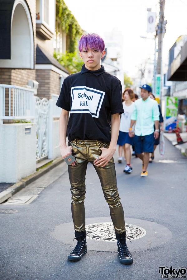 "Purple-Haired Harajuku Guy in Hyein Seo ""School Kills"" Tee, 99%IS- & Converse"
