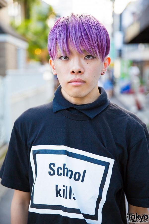 Purple Haired Harajuku Guy In Hyein Seo Quot School Kills Quot Tee