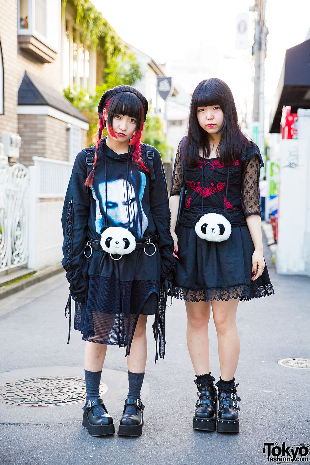 Harajuku Girls In All Black W Panda Pouches Marilyn Manson Mon Lily Nincompoop Capacity