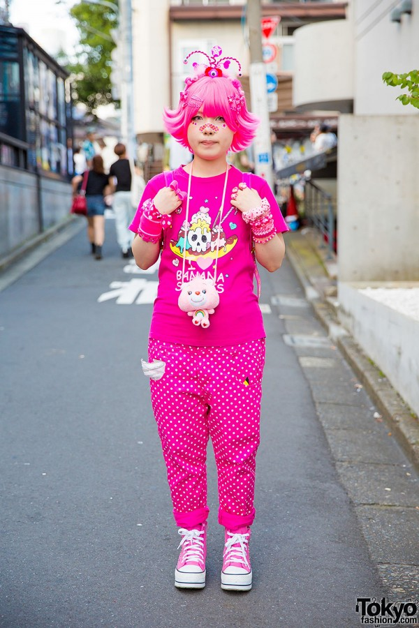Harajuku Girl in Pink w/ Banana Fish, Care Bears Neclace & ACDC Rag Winged Backpack