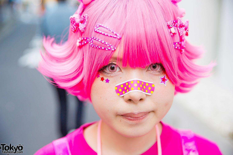 harajuku girl in pink w banana fish care bears neclace