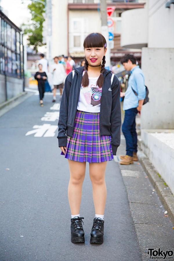 Bubbles Harajuku Top, Purple Plaid Skirt, Tattoo Necklace & Yosuke Platform Shoes