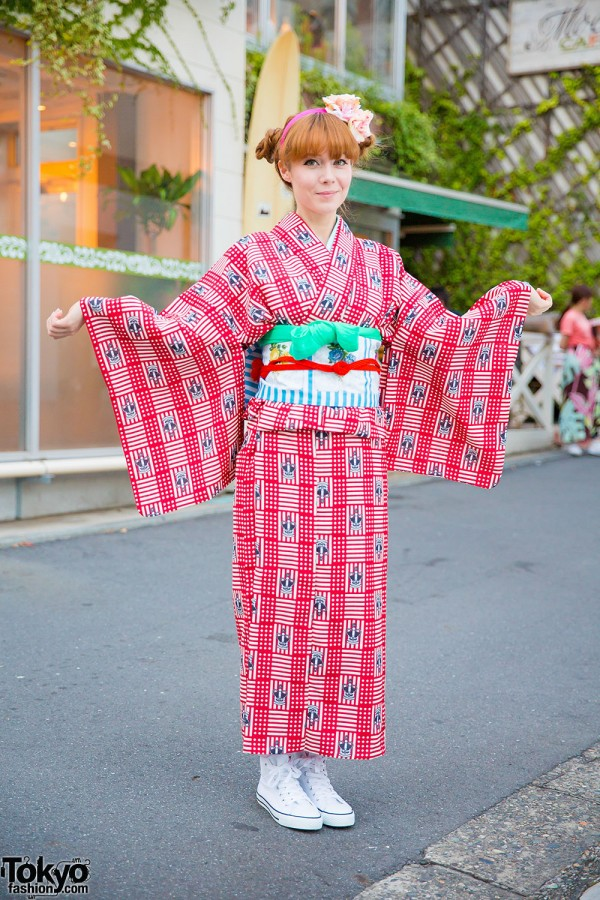 Crown Print Kimono & Floral Obi From Tokyo Kawaii Musee in Harajuku