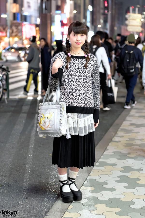Yumiko Igarashi Manga Bag, Pleated Skirt & Knit Top in Harajuku