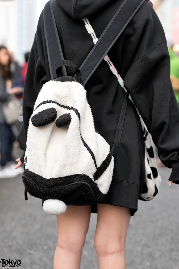 Fuzzy Panda Backpack in Harajuku