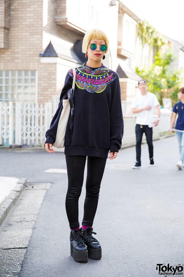 Harajuku Lady Gaga Fan in Sequin Sweater, Eye Ring & YRU Platforms