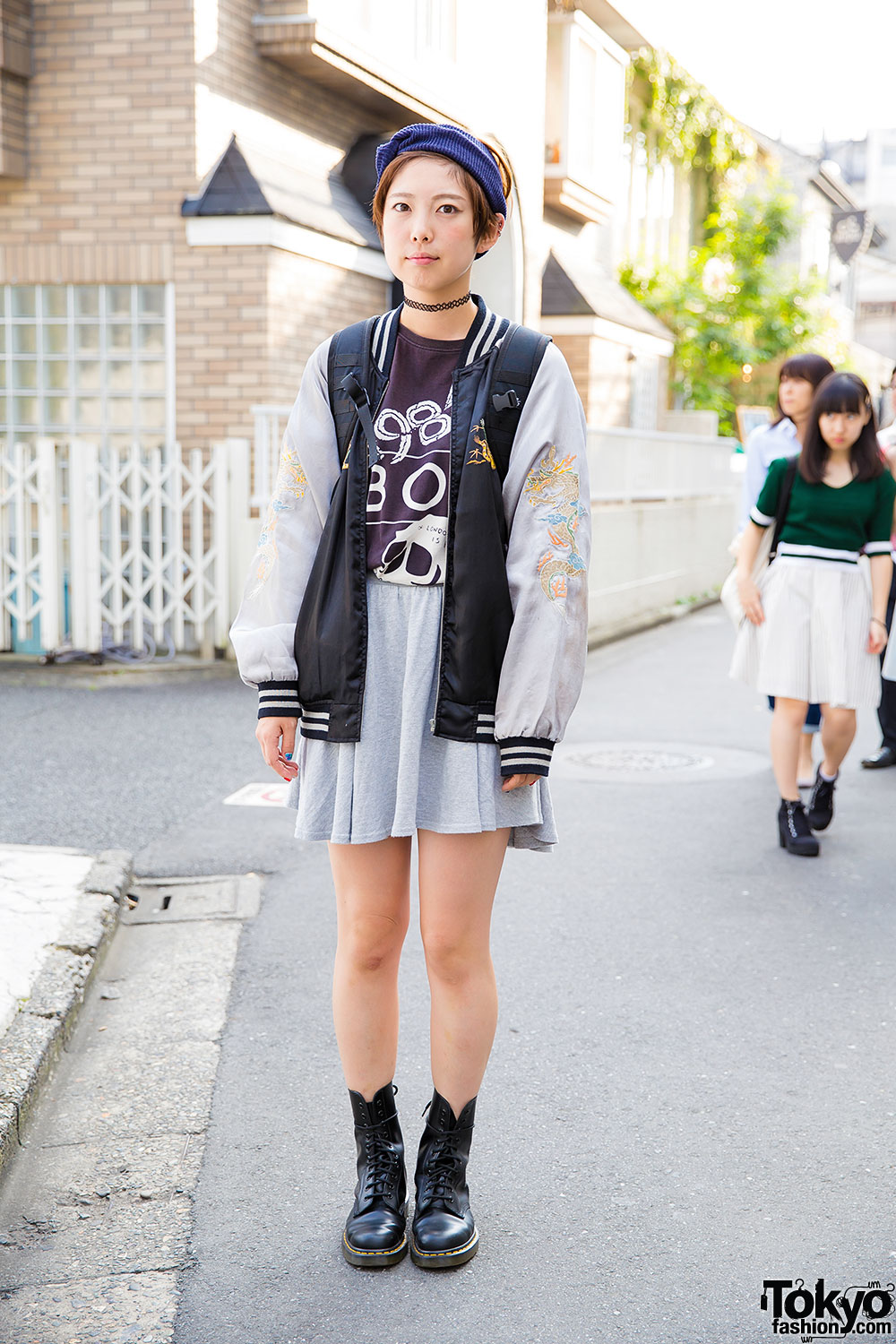 Harajuku girl in oversized sukajan jacket boy london dr martens boots Girl fashion style london