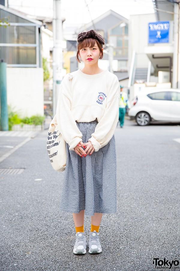 Oversized NFL Sweater, Gingham Skirt & Retro Pump Sneakers in Harajuku