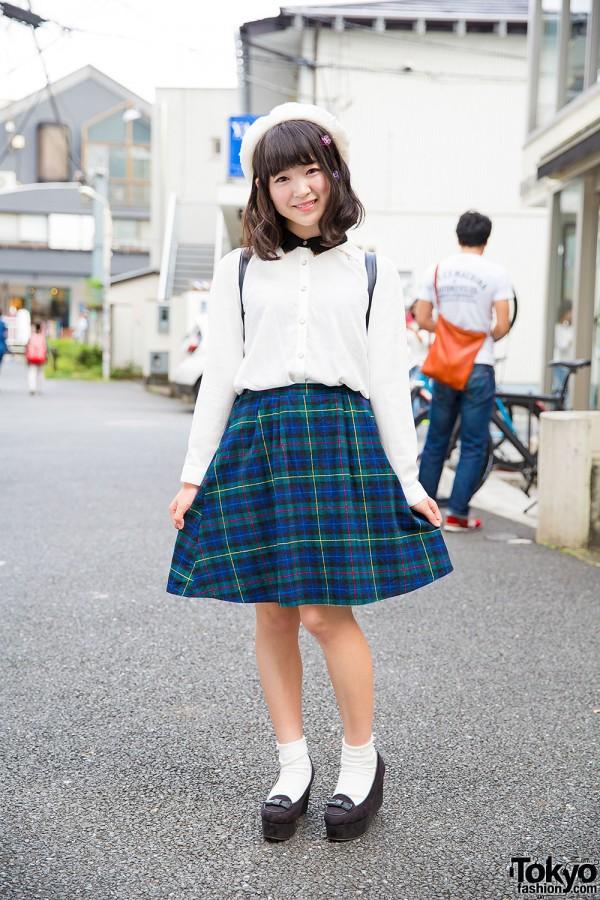 Cute Harajuku Street Style w/ Spinns Plaid Skirt, Wedge Loafers & Disney Backpack