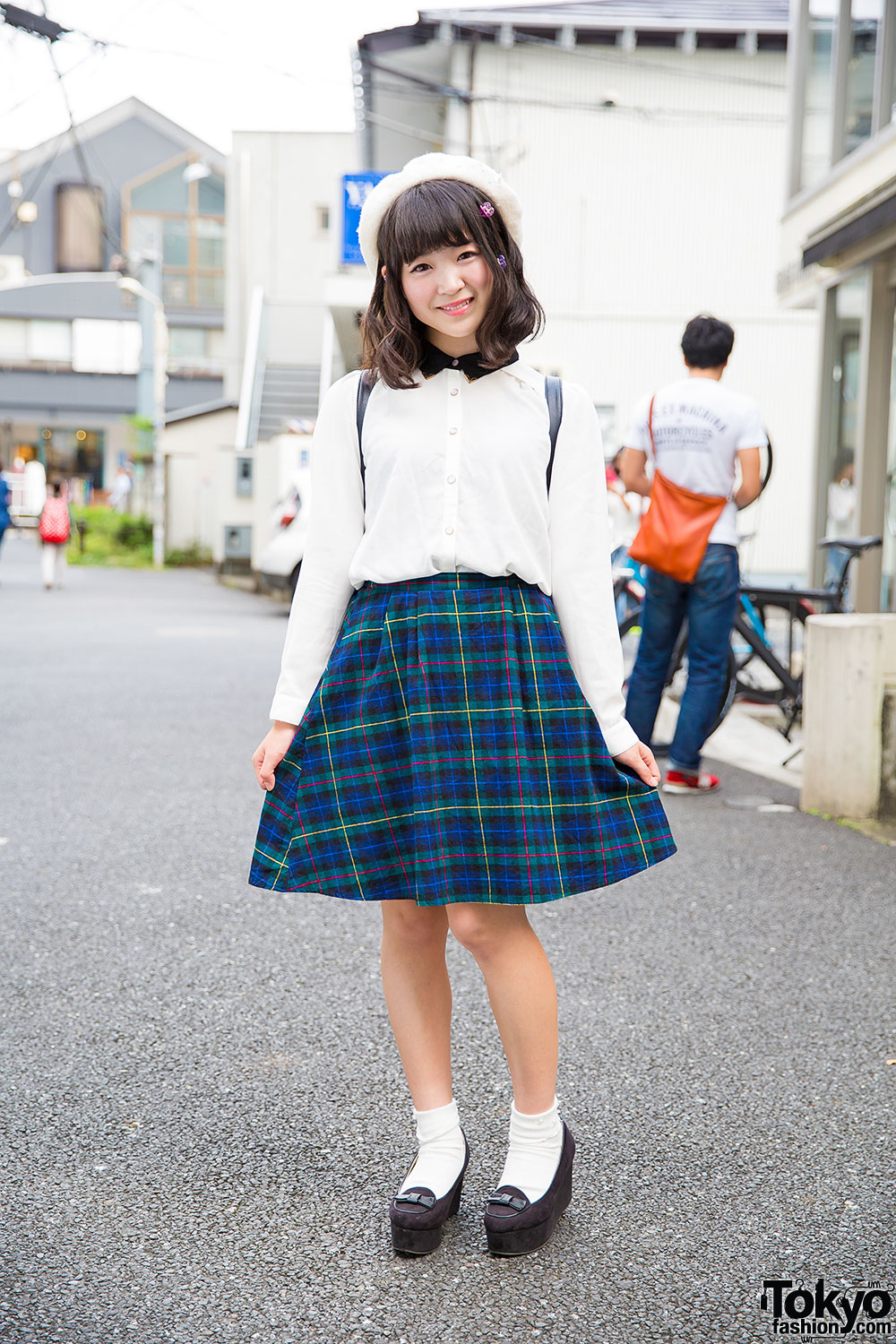 Cute Harajuku Street Style W Spinns Plaid Skirt Wedge