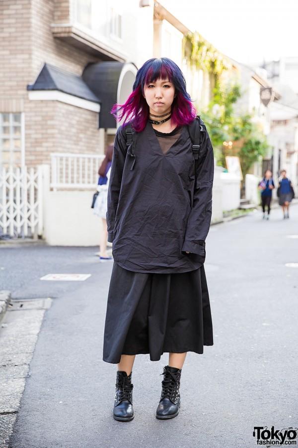 Harajuku Girl w/ Blue-Purple Hair in Ikumi, E hyphen world gallery & Monki Fashion