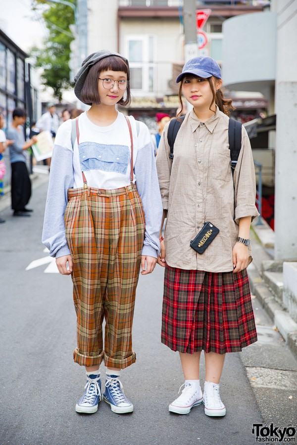Plaid Harajuku Street Styles w/ Bows Backpack & Converse Sneakers