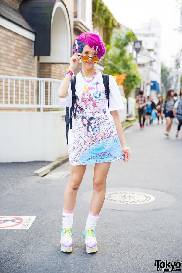 Dempagumi.Inc T-Shirt Dress in Harajuku