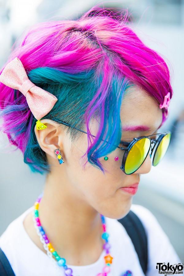 Pink, Blue & Green Hair