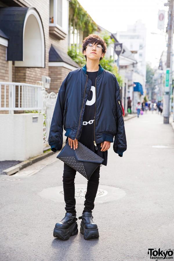 Harajuku Guy w/ Elcasion Bomber, Demonia Platforms, Long Clothing & UNIQLO