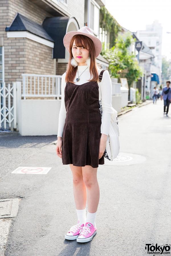 Harajuku Girl in Pink Hat, Corduroy Pinafore & Converse Sneakers