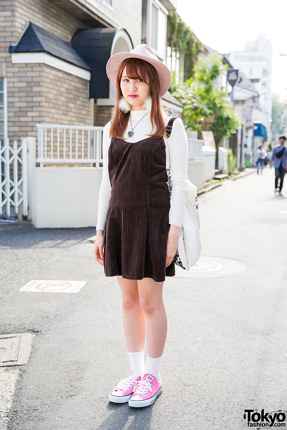 Harajuku Girl In Pink Hat Corduroy Pinafore Converse Sneakers