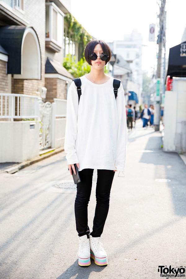 Harajuku Girl in Shimamura Sweatshirt & Honey's Jeans w/ Monomania Accessories & Rainbow Platforms