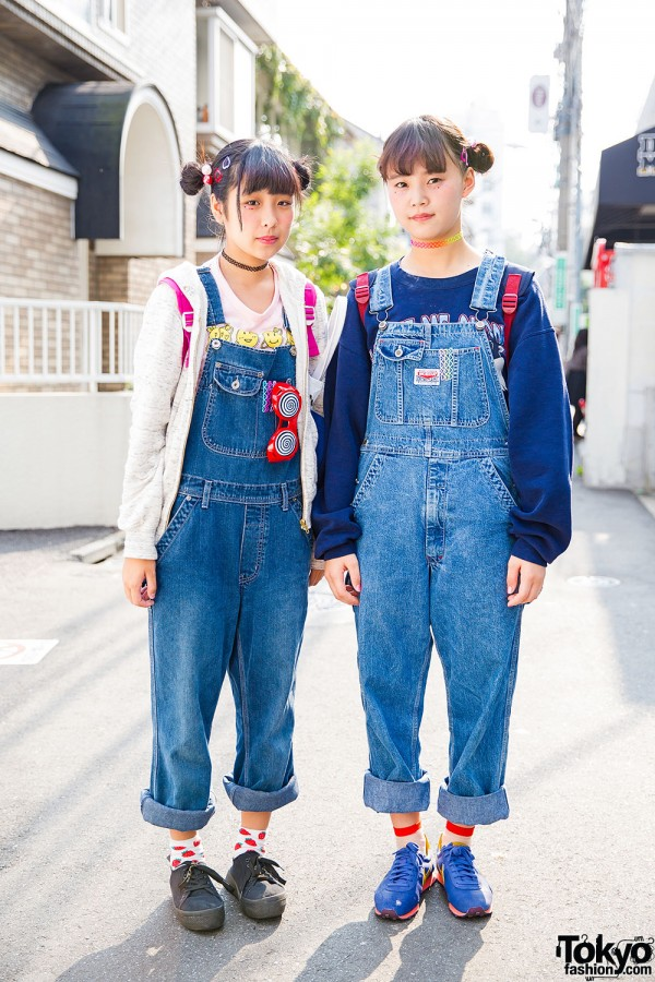 Harajuku Girls in WEGO Denim Overalls, Tattoo Necklaces, Twin Buns & Sneakers