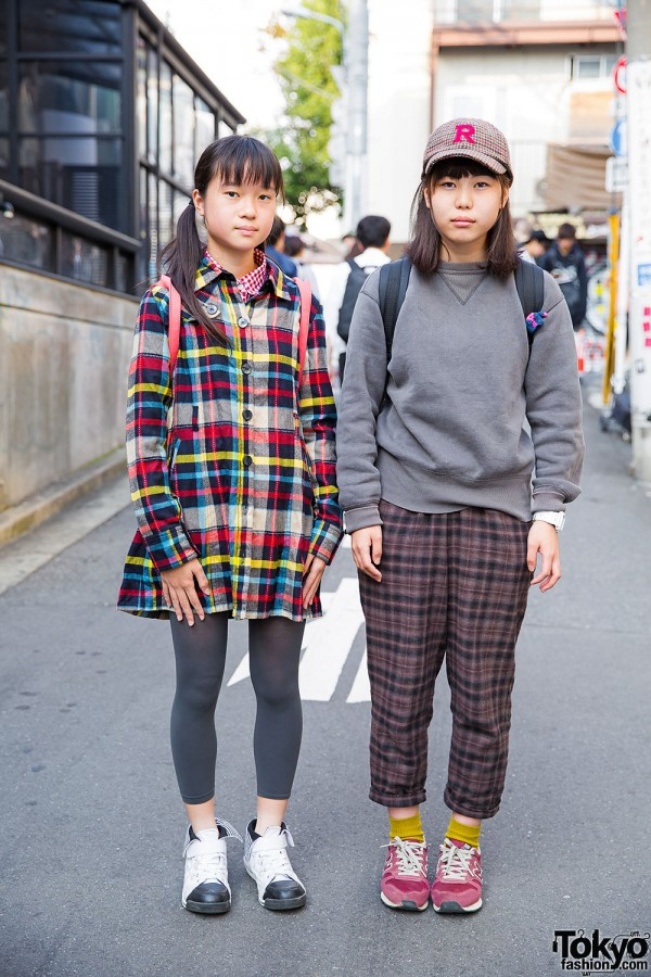 Harajuku Girls in Plaid w/ Resale Items, Champion, New Balance & ekha shop