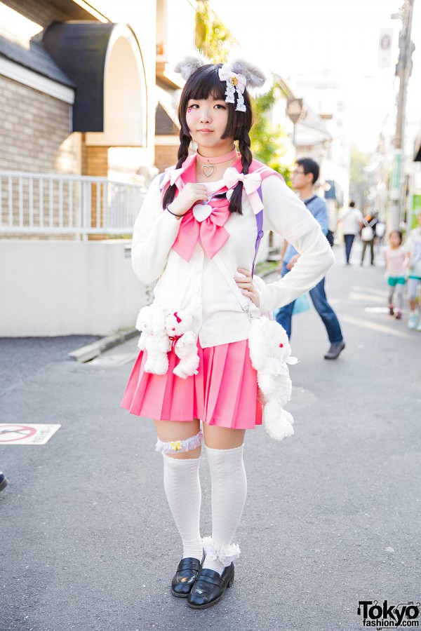 Harajuku Girl w/ Furry Ears & Tail, Pink Sailor Uniform & Plush Bunny Backpack