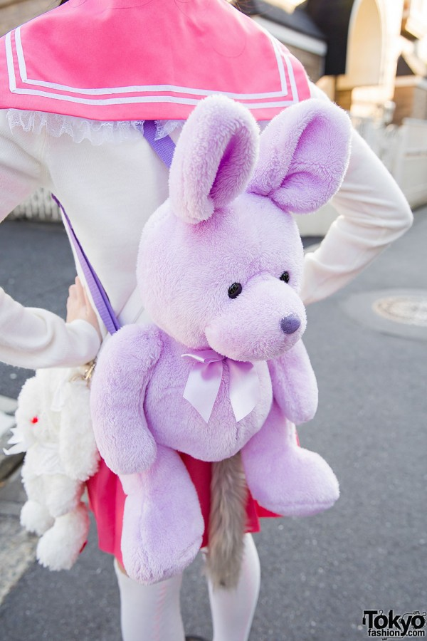 Harajuku Girl W Furry Ears Amp Tail Pink Sailor Uniform