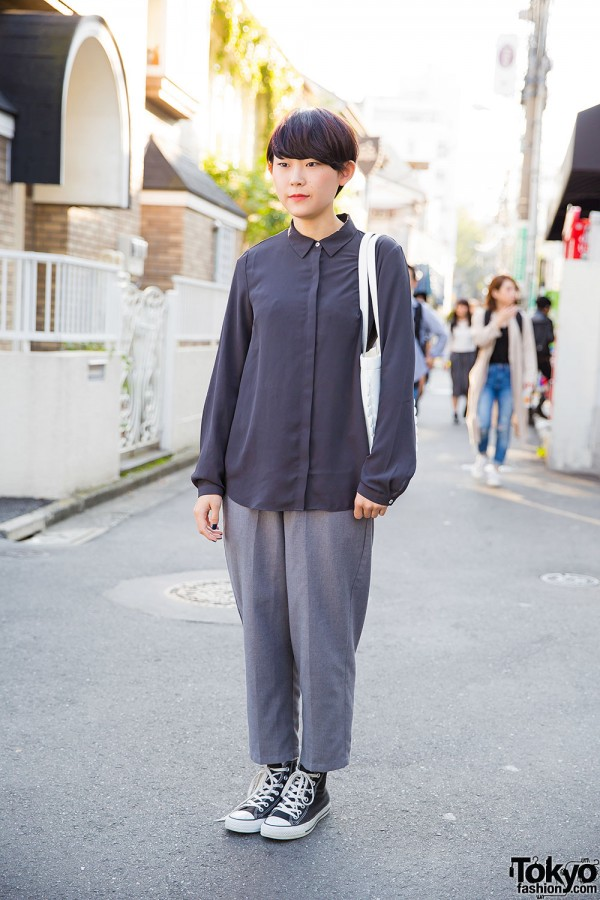 Harajuku Girl in Minimalist Fashion w/ Tokyo Bopper Milk Crown Bag & Converse Sneakers