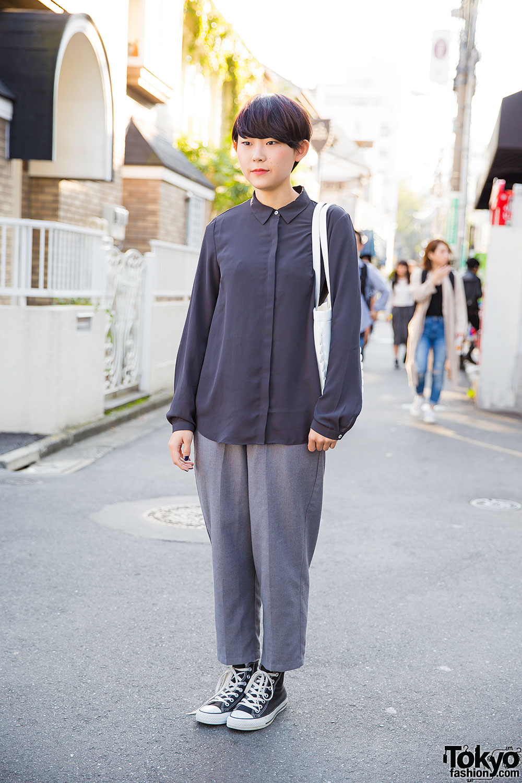 Harajuku Girl In Minimalist Fashion W Tokyo Bopper Milk Crown Bag Converse Sneakers