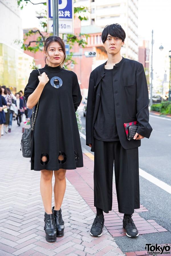 Stylish Tokyo Duo in All Black w/ Yohji Yamamoto, Alexander Wang, Saint Laurent & Moschino