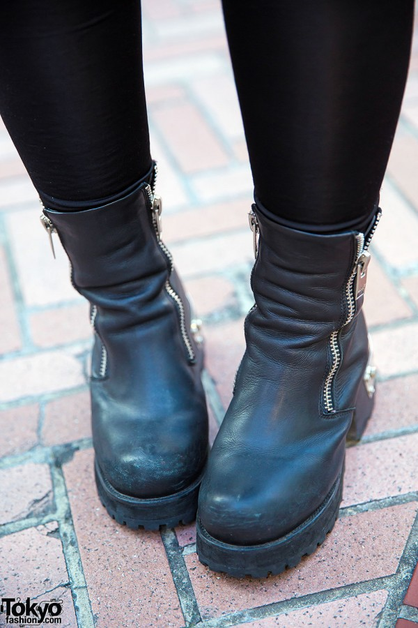 UNIF Black Leather Boots