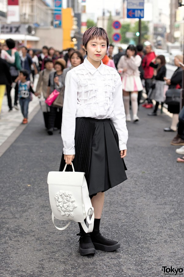Tokyo Bopper Bows Backpack, Cleana Skirt & Platform Shoes in Harajuku