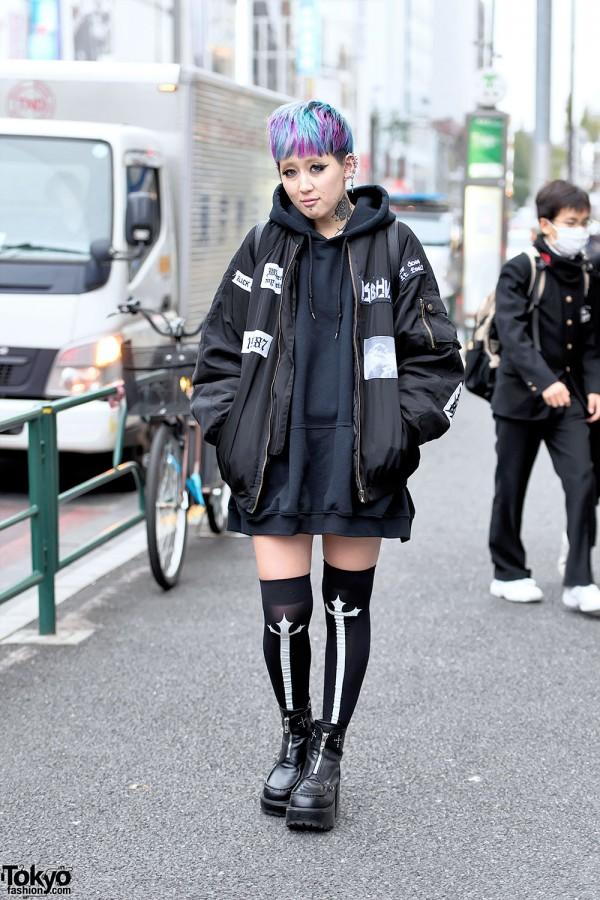 Harajuku Girl w/ Bomber Jacket, Neck Tattoo, Colorful Hair & Yosuke Boots