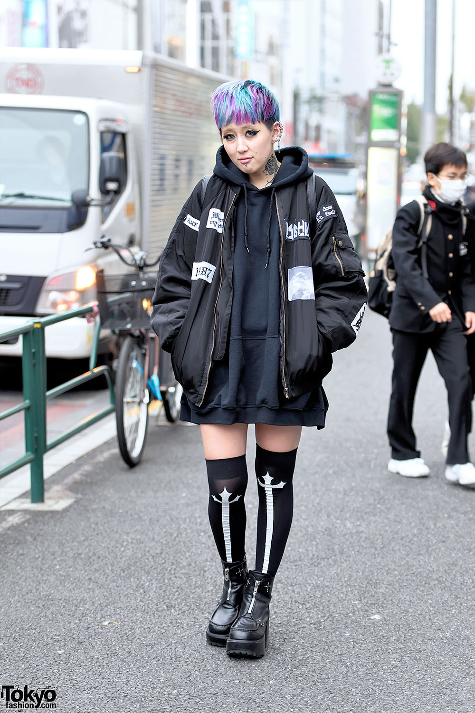 Harajuku Girl w/ Bomber Jacket, Neck Tattoo, Colorful Hair ...