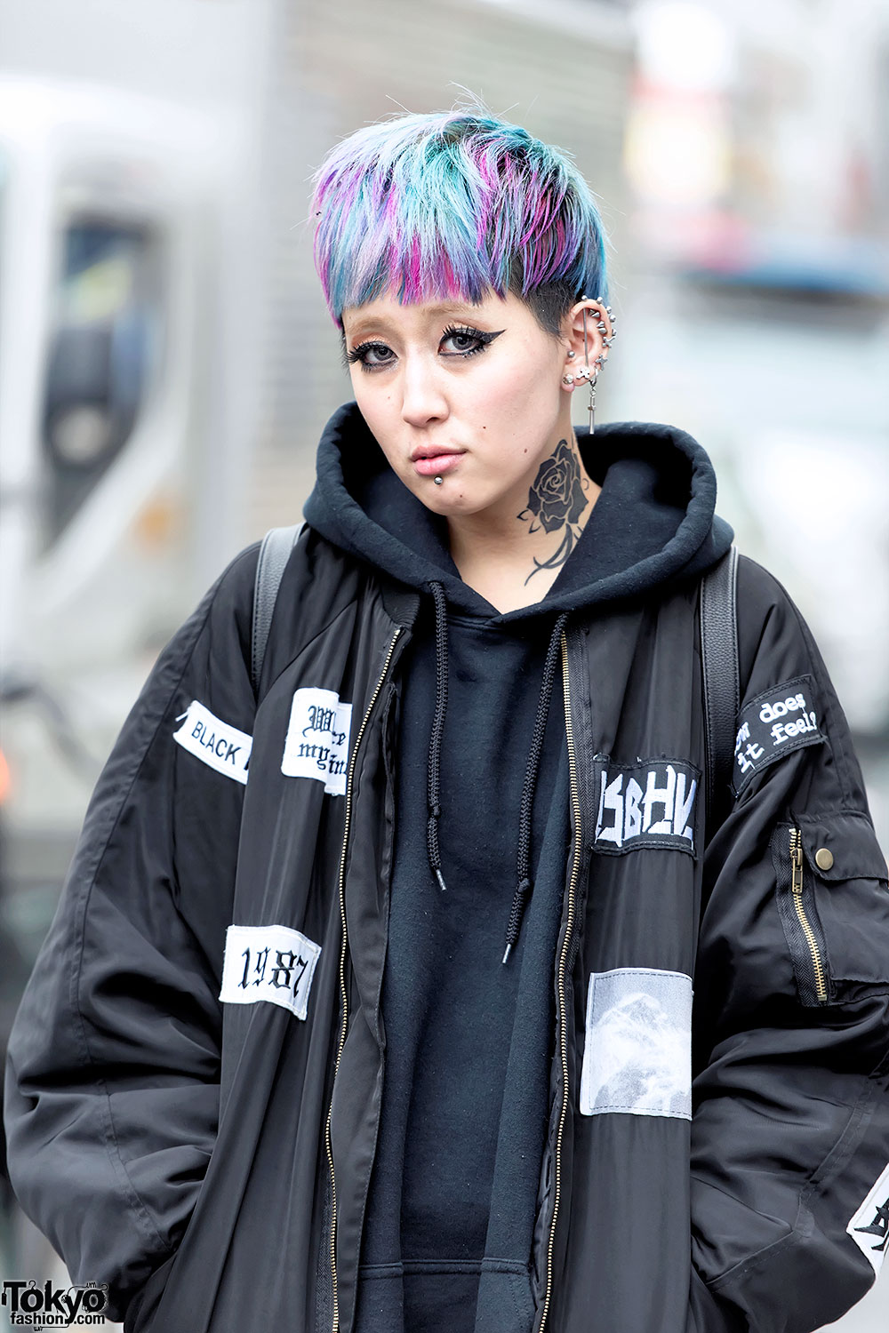 Harajuku Girl W Bomber Jacket Neck Tattoo Colorful Hair Yosuke
