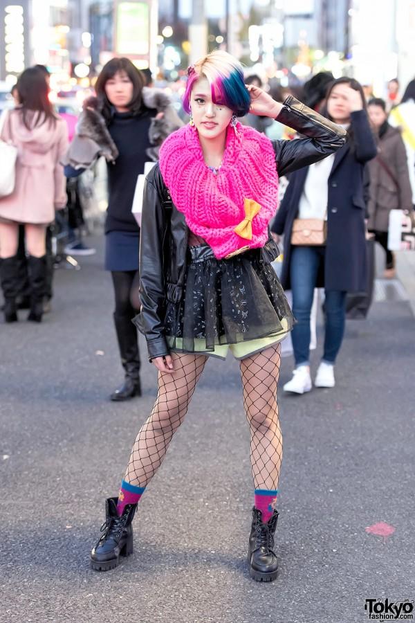 Rikarin in Harajuku w/ Colorful Hair, Leather Jacket, 6%DOKIDOKI & Milklim