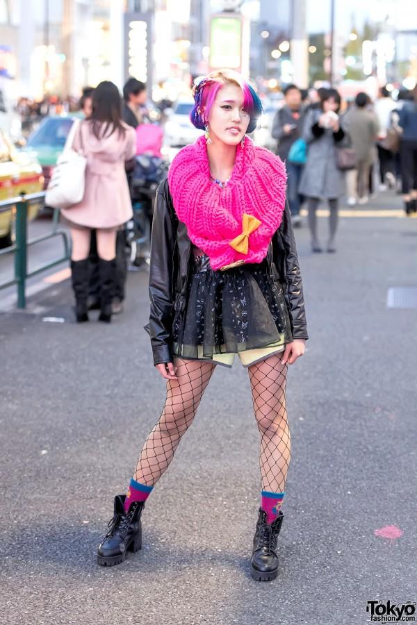 Rikarin In Harajuku W Colorful Hair Leather Jacket 6