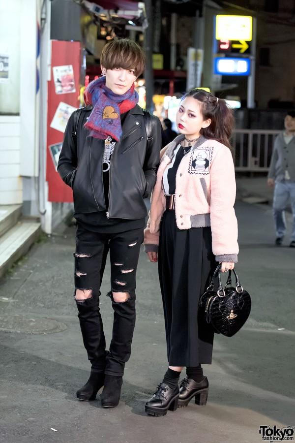 Harajuku Couple in Vivienne Westwood, Biker Jacket, Faux Fur & Platforms