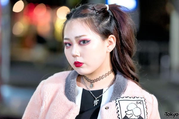 Harajuku Girl in Choker & Faux Fur