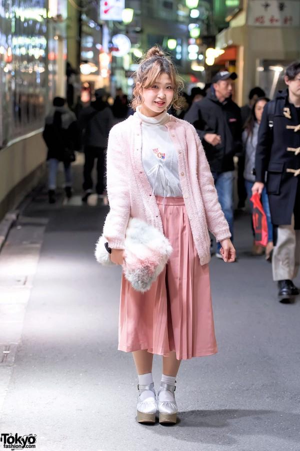 Pretty Pastel Harajuku Fashion w/ Cardigan, Faux Fur Clutch & Gaucho Pants