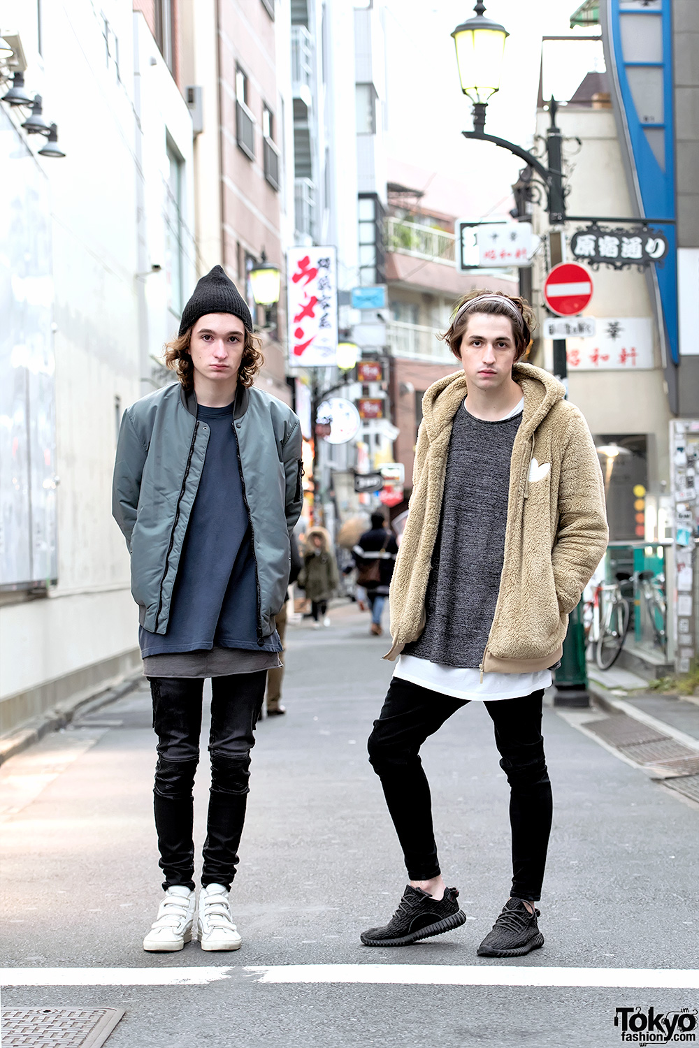 Electronic Musician Porter Robinson & Brother in Harajuku in Raf Simons, Yeezy Boosts & Bomber Jacket
